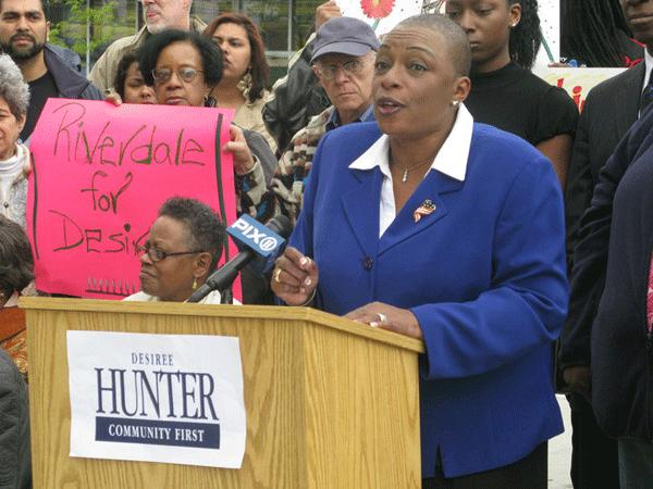 Desiree Pilgrim-Hunter, a veteran Bronx activist, announces her candidacy for Sen. Pedro Espada's seat on April 17.