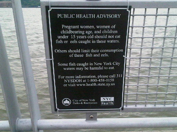 A sign along the Hudson River bears the warning.