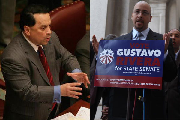 Pedro Espada (left) addresses the New York State Senate. His challenger Gustavo Rivera (right) speaks at a press conference.