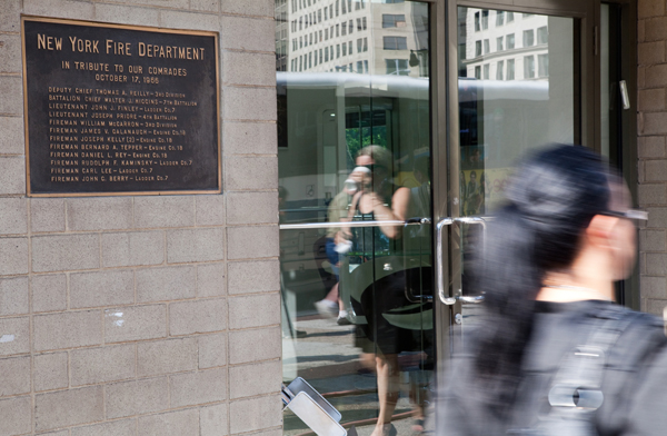 A plaque on 23rd Street memorializes the October 1966 fire that claimed 12 FDNY personnel. Until September 11, it was the worst loss of life in a single incident for the New York department.