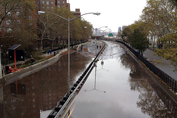 Flooding on the FDR drive on October 30, 2012.