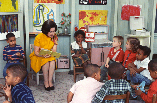 Lady Bird Johnson, the first lady, visiting a Head Start classroom in 1966.