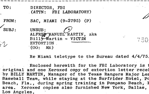 An image from former Yankees manager Billy Martin's FBI file.