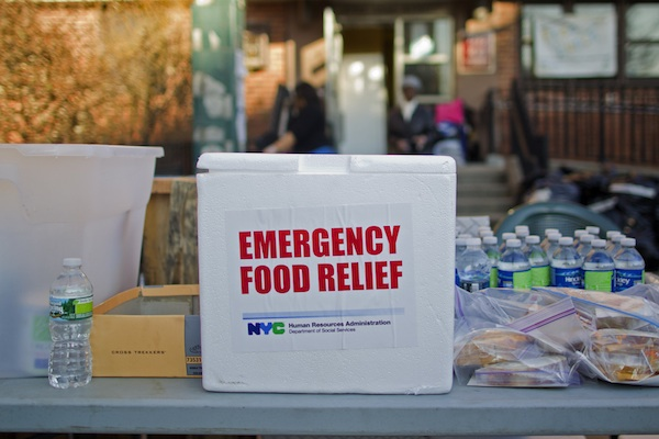 In November, a table outside NYCHA's Gravesend Houses had food available all day.