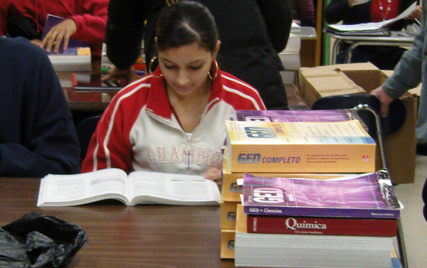 A student in a GED class at the Mary Mitchell Center in the Crotona section of the Bronx in late 2007.