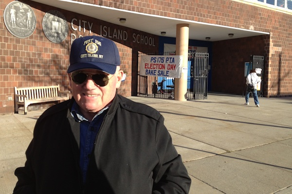 Joe Goonan in front of his polling site on City Island, expected to be one of the few Bronx neighborhoods to go for Gov. Mitt Romney.