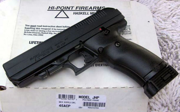 File image of a Hi-Point .45. According to an investigation of gun trafficking, straw buyers purchase guns like this for as little as $99 and re-sell them illegally in New York for as much as $500.