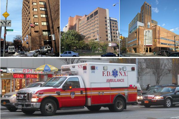 From left, Long Island College Hospital, Brooklyn Hospital Center and Wyckoff Heights Medical Center, all of which state officials have said could close or merge.