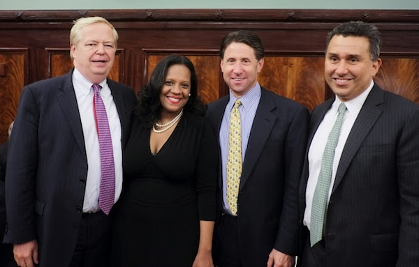 Councilwoman Julissa Ferreras flanked by Charles  J.  O'Byrne of the Related Companies at left and Mets chief operating officer Jeff Wilpon with Related's Glenn Goldstein on the left shortly after the Council approved the redevelopment plan.