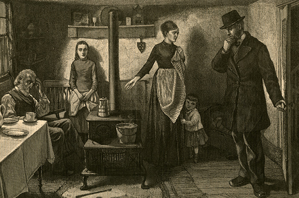 Collecting rent on the Lower East Side. A visitor, probably a landlord in search of rent, enters a family's tenement. Many families were forced to break up when a primary wage earner became too sick to work.