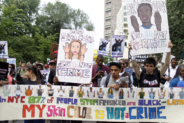 On father's day, opponents of the stop-and-frisk policy marched silently.