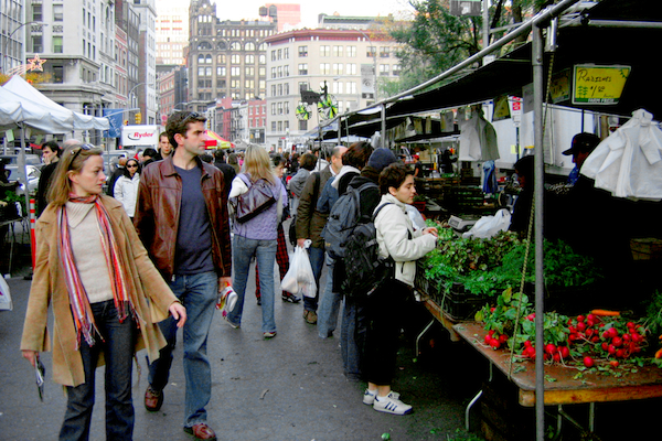 The Union Square Farmers' Market. When the WIC program incorporated more fruits and vegetables like the ones sold here, there was a dramatic effect on obesity rates.
