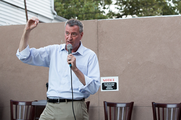 Mayor de Blasio seen during the campaign. He has three seats to fill on the board that approves hikes to stabilized rents in the city.