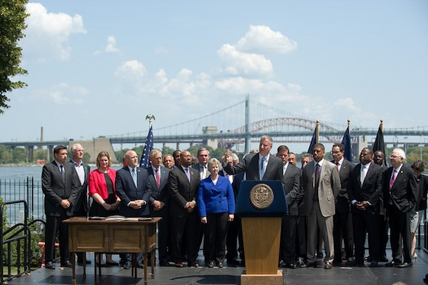 Mayor de Blasio hosts big-city mayors from around the country at Gracie Mansion in August.