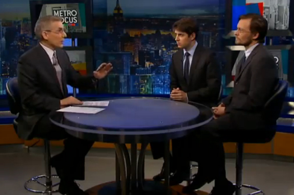 From left to right: MetroFocus host Rafael Pi Roman WSJ's Andrew Grossman and City Limits' Jarrett Murphy.