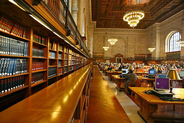 The main reading room at the NYPL's main branch.