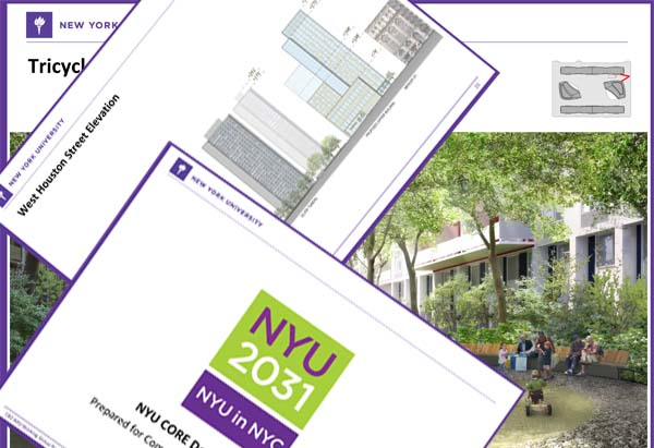 Pages from an NYU project overview filed with Manhattan Community Board 2. To see the actual document, click <a href=