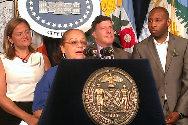 Agnes Rivera, Member-Leader of Community Voices Heard, at the City Council Press Conference on the Expansion of PBNYC to 22 Districts. She's joined by, from left to right, Council Speaker Melissa Mark-Viverito, Councilmember Mark Weprin and Councilmember Donovan Richards.
