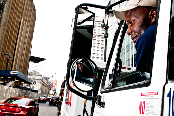 Pierre Joseph, a driver for a food wholesaler, pilots one of the vehicles that carries 82,000 tons of truck traffic into Manhattan on an average day.