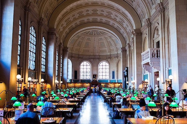 The reading room at the main Boston Public Library.