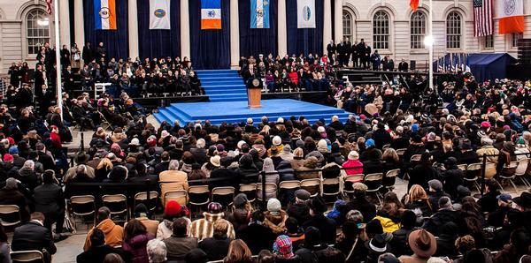 Mayor de Blasio delivers his inaugural address.