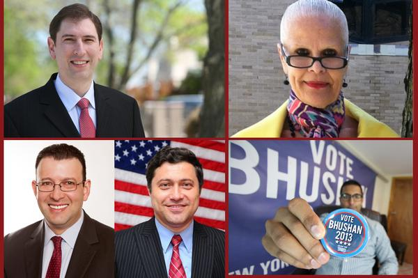 The contenders, clockwise from top left: Deutsch, Scavo, Bhushan, Kagan and Oberman.