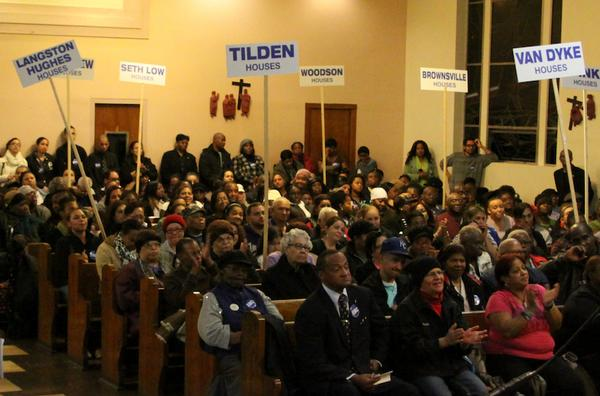 Attendees presented a lengthy list of repair problems generated by a survey of local NYCHA developments.