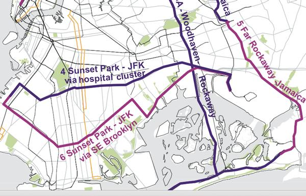 Oen proposed route would go from Sunset Park to JFK through southeast Brooklyn neighborhoods cutting a 90-minute best-case transit route to 75 minutes.