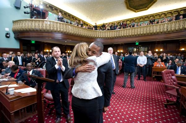 New Bronx Councilmember Ritchie Torres embraces Melissa Mark-Viverito, whose district lies mostly in the Bronx, after her election as speaker. They are the only members of the Progressive Caucus with districts that cover Bronx territory.