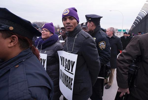 Torres getting arrested at a recent protest by airport workers seeking better working conditions.