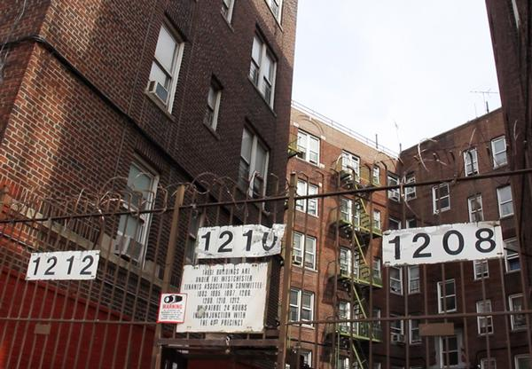 This complex on Westchester Avenue in the Bronx is home to homeless families that the city is sheltering under the cluster-site program. According to city records, the property has 161 active housing-code violations in 104 units.