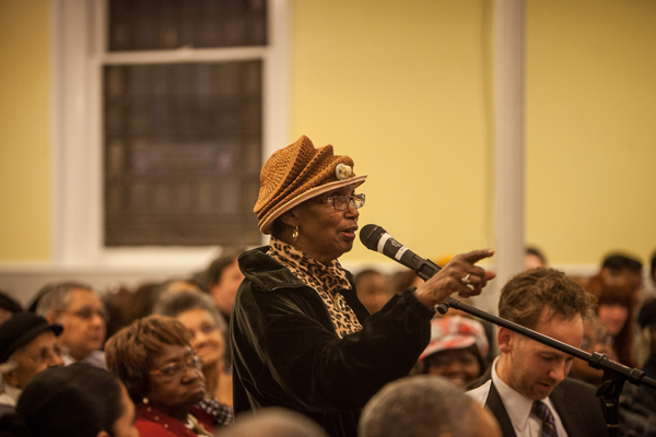 Blanche Romey, a leader from St. Thomas Episcopal Church, speaks during a Mayoral Candidates Forum at the First Presbyterian Church in Jamaica Queens.