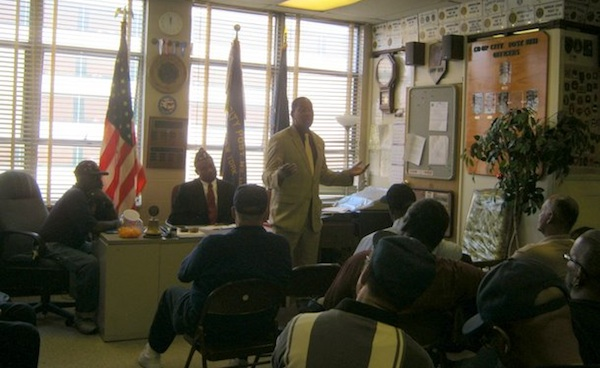 Bronx City Council Candidate Andy King addresses a group of veterans at American Legion Post 1871 in Co-op City.
