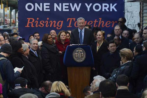 Mayor de Blasio announces the new sick-leave legislation on January 17.