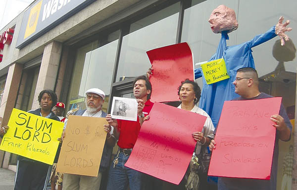 Members of the Northwest Bronx Community Clergy Coalition protesting Washington Mutual's dealings with the Palazzolo-linked corporations in 2003. Shortly afterward, some of those corporations sued the group for interfering in its business.
