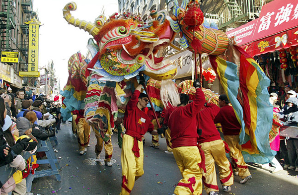 A recent lunar New Year celebration in Manhattan's Chinatown. As the Year of the Horse approaches, NYPD officials at two precincts are aiming to protect the growing Chinese community in Sunset Park from crime that often accompanies New Year's gift-giving.