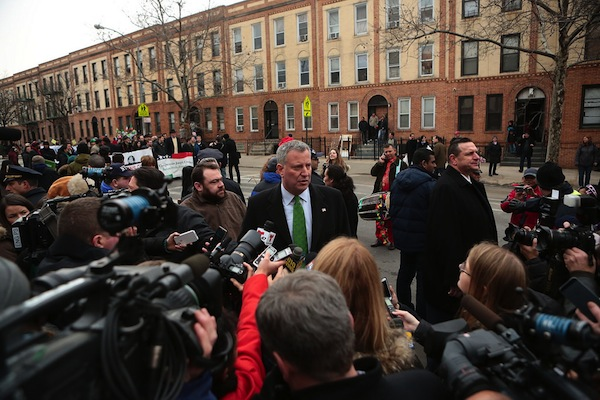 Mayor de Blasio at Sunday's St, Patrick's For All Parade in Woodside.