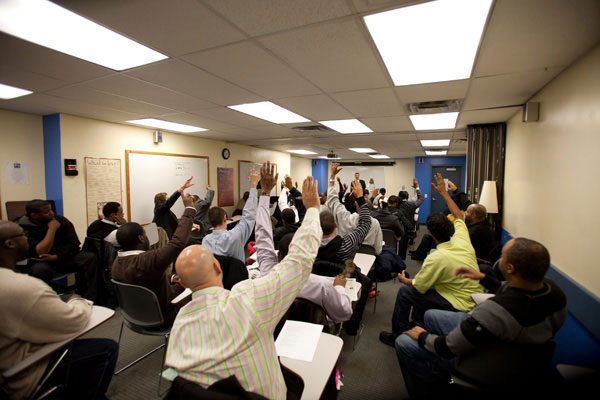 Clients at a Harlem job training service in March. The sharp upturn in unemployment during the recession has increased poverty, more so among Latinos and blacks than among whites.