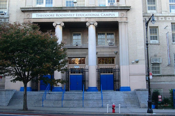 The former Theodore Roosevelt High School on Fordham Road now contains for high schools. One operates at 74 percent of capacity, one at 105 percent.
