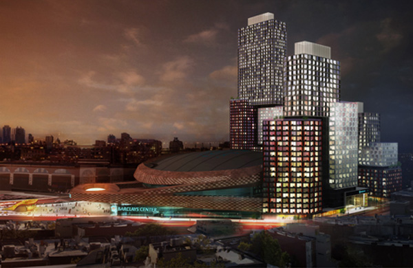 A rendering of the Atlantic Yards project by <a href=