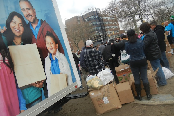 A truck delivers supplies to Rockaway Island residents.