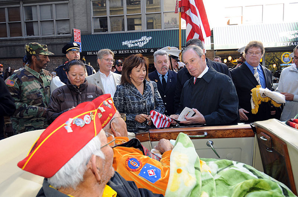 Mayor Bloomberg talks with World War II veterans during the Veterans Day parade in 2010.