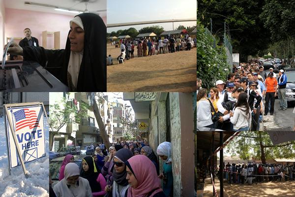 Voting scenes from Iraq, Ghana, Venezuela, South Sudan, Egypt and Utah.