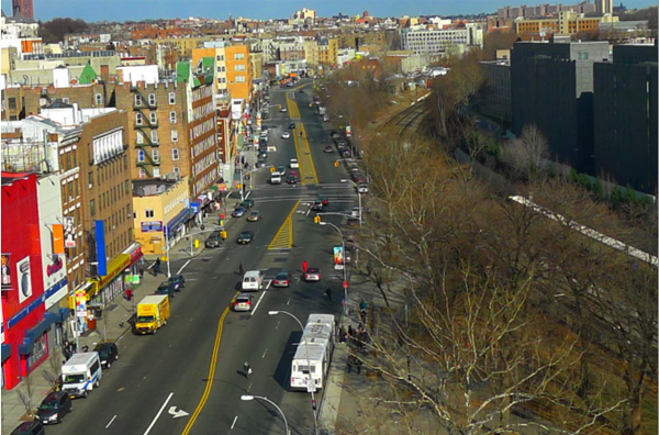 View looking north from Fordham Road along Webster Avenue, a corridor the Economic Development Corporation has targeted for improvement but where many supportive housing projects are planned.