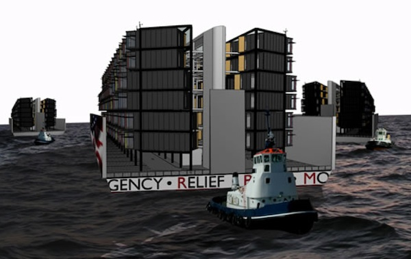One winning design, by Matthew Francke and Katya Hristova, called for bringing in modular housing by barge, and anchoring the structures side-by-side to create a temporary neighborhood.