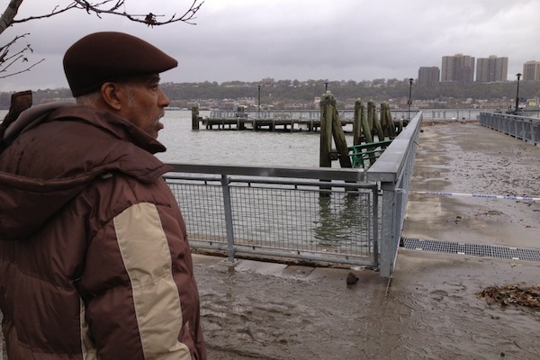 Dennis Williams, at 10 a.m. on Tuesday, near the spot where he first tried to weather Hurricane Sandy.