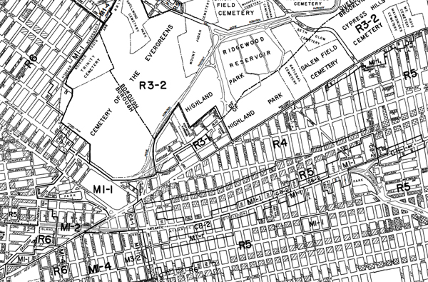 A section of the city's zoning map.