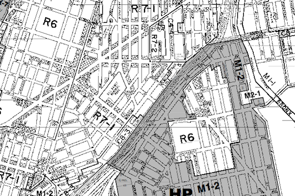 One small segment of the city's zoning map. As critical as zoning is, and as creative as the city's planners have been in using it, its ability to do what urban planning is supposed to do is limited.