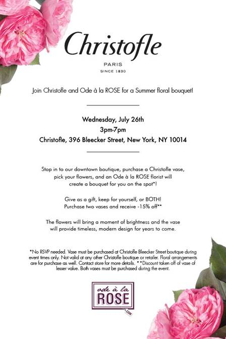 Christofle And Ode La Rose Summer Floral Soirecity Limits
