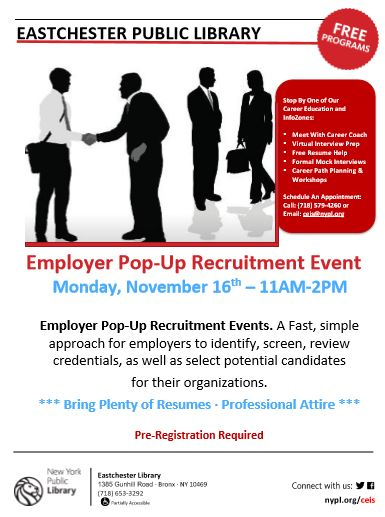Eastchester Library Surprise Employer Pop-Up Recruitment